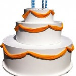 White-satan-yellow-shiffon-draped-over-popout-cake-#26